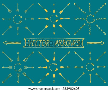 Colorful Vector Arrows, Straight and Round. Set of Signs Illustration with Text Lettering Label.