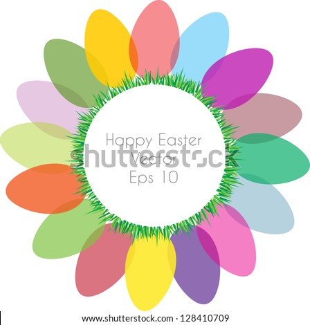 colorful vector backdrop design with easter motive and place for your text isolated on white background - stock vector