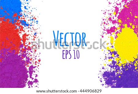 Colorful vector background. Bright frame with powder splashes. Abstract Holi powder texture. Rainbow colored banner design.  - stock vector