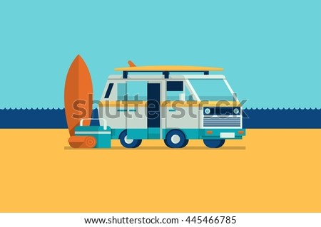 colorful vector background with a van on the beach - stock vector