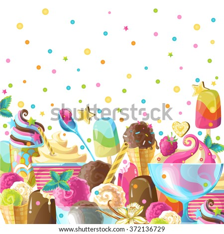 stock vector colorful vector background with ice cream can be used for fabrics wallpapers ornamental 372136729 - Каталог — Фотообои «Еда, фрукты, для кухни»