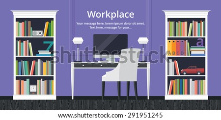 Colorful vector banner. Workplace. Workspace. Quality design illustration, elements and concept. Flat style - stock vector
