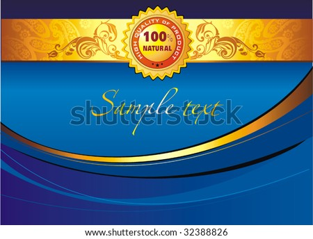 Colorful vector blue illustration with graphic symbol and the text one hundred percent natural written around. Ecology Company Template Background. Elegant classic Design billboard. - stock vector