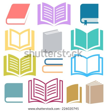 Colorful vector book icons collection on white background - stock vector