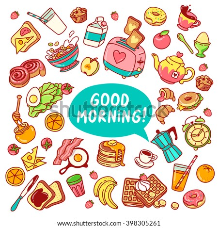 Colorful vector Breakfast yummy and healthy food good morning set of elements: toaster, sweets, fresh milk, eggs, waffles, fresh juice, fruits, pastry, coffee pot, tea pot, tea cup, fresh salad, bacon - stock vector
