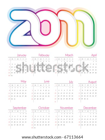 Colorful vector calendar for 2011 - stock vector