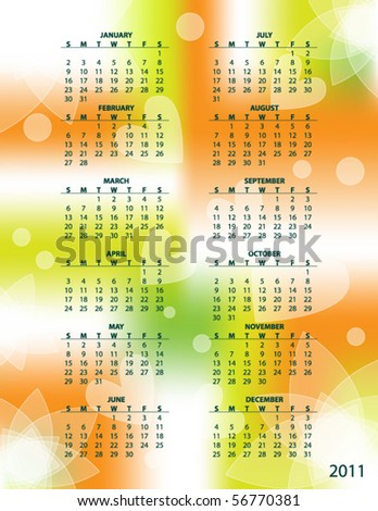 Colorful vector calendar with flowers and hearts for 2011 - stock vector
