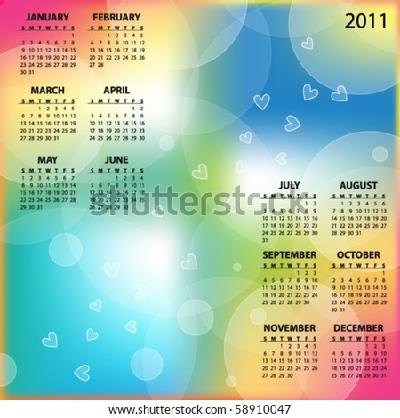 Colorful 2011 vector calendar withe hearts - stock vector