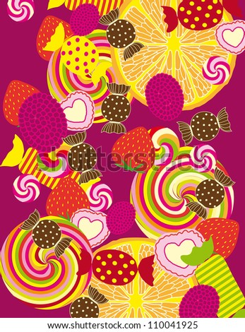 Colorful Vector Candies background - stock vector