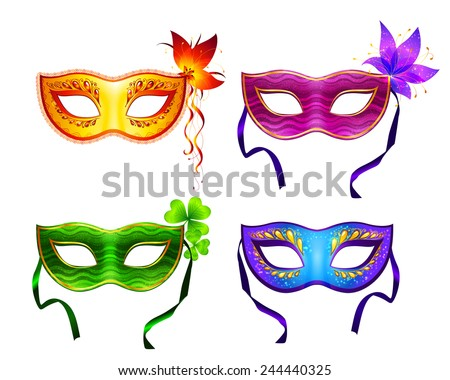 Colorful vector carnival masks set - stock vector