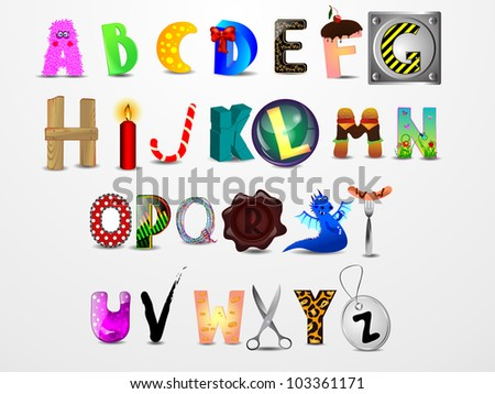 Colorful vector cartoon font. Different design letters - stock vector