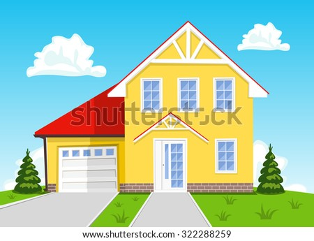 Colorful vector cartoon house on blue background. Illustration - stock vector