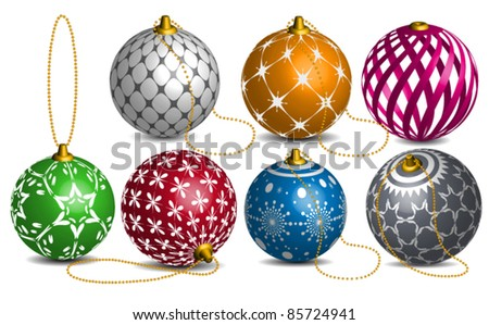 Colorful Vector Christmas and new year decoration bauble - stock vector