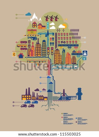 colorful vector city in form of a tree, city info graphic, - stock vector