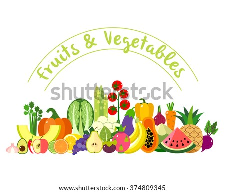 Colorful vector composition of fruits and vegetables on white background. Flat design.