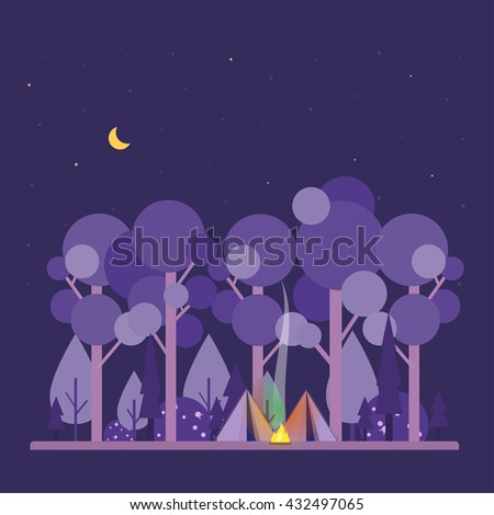 Colorful vector concept with camping scene. Night landscape with tent, forest, fire, sparks, starry sky. Flat style. Design illustration. Perfect for website banners, flyer, poster.