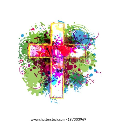 Colorful vector cross background - stock vector