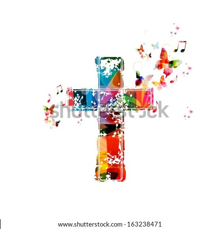 Colorful vector cross background with butterflies. - stock vector