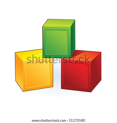 colorful vector cubes - stock vector