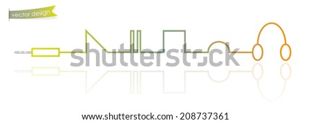 Colorful vector design, Modern thin line as music player concept - stock vector