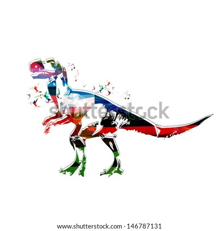 Colorful vector dinosaur background with hummingbirds