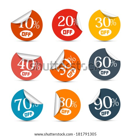 Colorful Vector Discount Stickers, Labels Illustration Set - stock vector