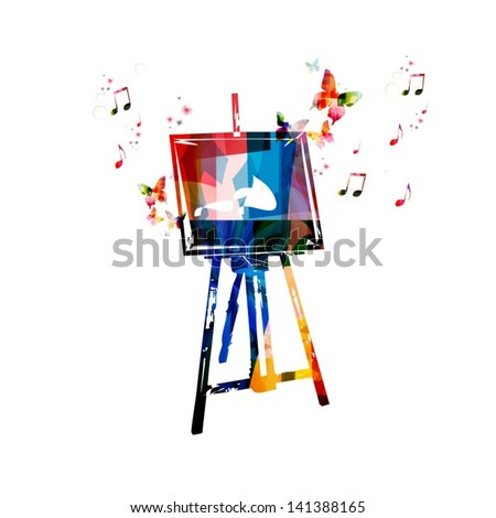Colorful vector easel background with butterflies - stock vector
