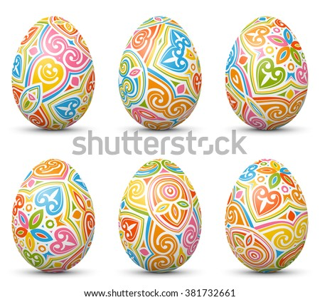 Colorful Vector Easter Eggs Set With Abstract Pattern Texture Style