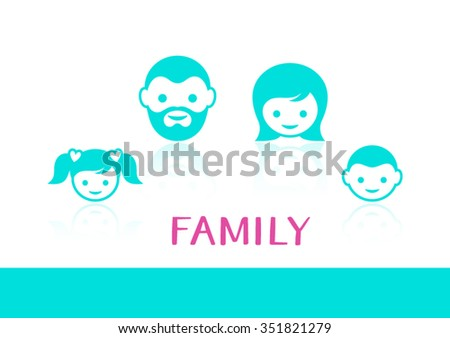Colorful vector family members face icons with reflection - stock vector