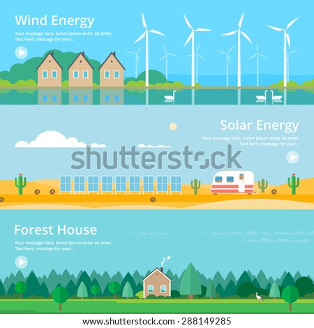 Colorful vector flat banner set. Quality design illustrations, elements and concept - Solar energy, Wind energy, Ecology,  - stock vector
