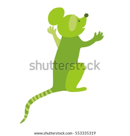 Colorful vector flat illustration of green anthropomorphic mouse character sitting with arms raised, back view. Speaking, admiring or surprised. Isolated on white background.