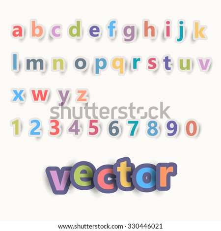 Colorful Vector Flat Paper Style Font Illustration Set - stock vector