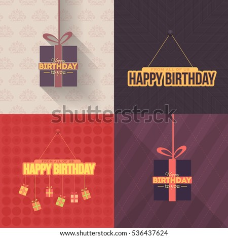 Colorful Vector Flat Style Happy Birthday Stock Vector 536437624