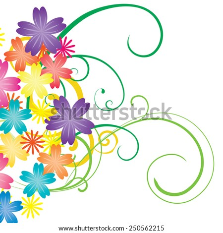 colorful vector flowers isolated on white - stock vector