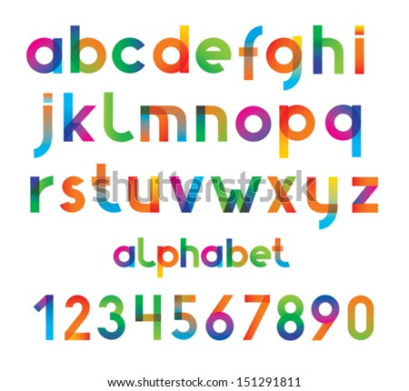 Colorful vector font and numbers. - stock vector