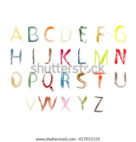 Colorful vector font isolated on white background. all letters of the alphabet