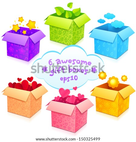 Colorful vector gift boxes set - stock vector