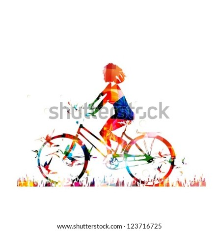 Colorful vector girl on a bike background with hummingbirds - stock vector