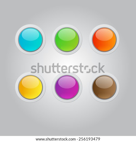 colorful vector glossy buttons set - stock vector