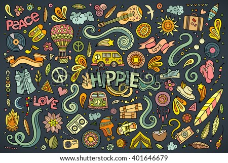Colorful vector hand drawn Doodle cartoon set of hippie objects and symbols - stock vector
