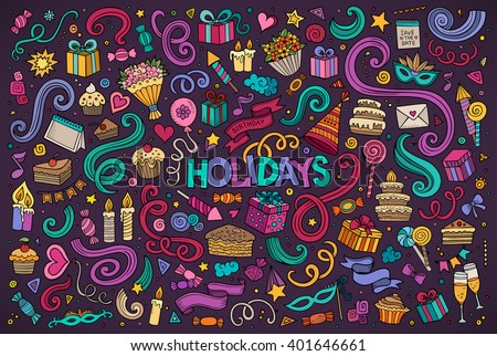 Colorful vector hand drawn Doodle cartoon set of holidays objects and symbols - stock vector