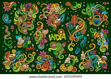 Colorful Vector Hand Drawn Doodle Cartoon Stock Vector 691549444