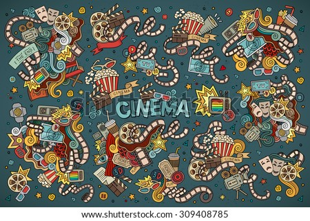 Colorful vector hand drawn Doodle cartoon set of objects and symbols on the cinema theme - stock vector