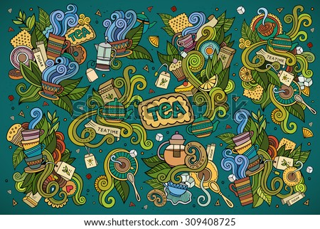 Colorful vector hand drawn Doodle cartoon set of objects and symbols on the tea time theme - stock vector