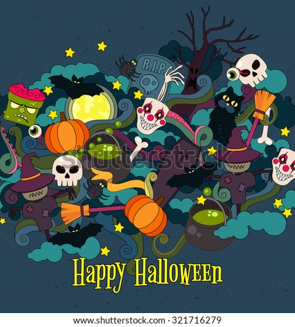 Colorful vector hand drawn  Happy Halloween Doodle cartoon style  of objects and symbols on the Halloween theme - stock vector