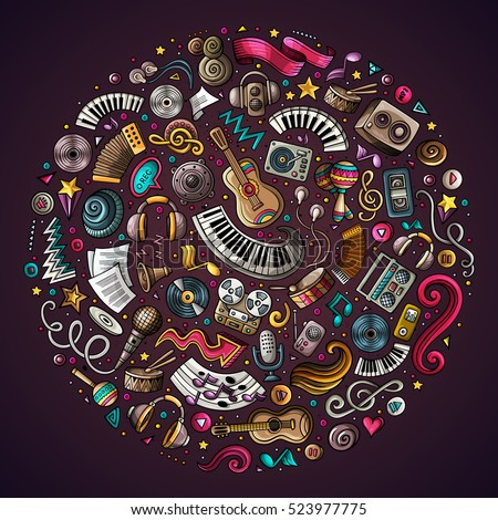 Colorful vector hand drawn set of Musical cartoon doodle objects, symbols and items. Round composition