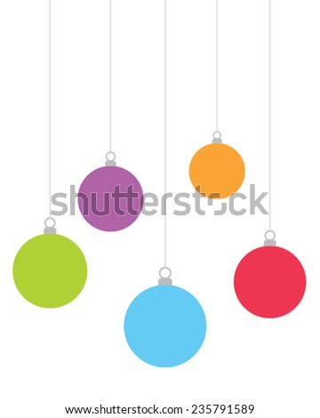 Colorful vector hanging Christmas ornaments - stock vector
