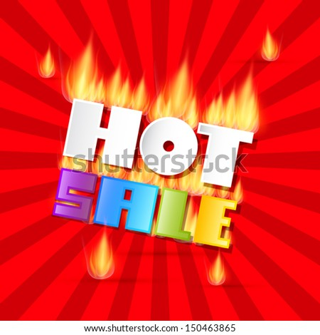Colorful Vector Hot Sale Title In Flames - stock vector