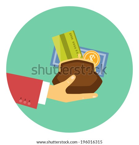 Colorful vector icon of the hand of a businessman giving a purse filled with money and a bank card in a concept of the granting of a financial credit or loan - stock vector