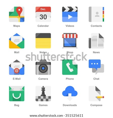 colorful vector icons - stock vector